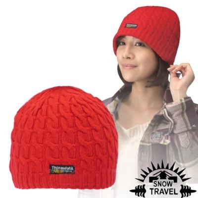 【SNOW TRAVEL】3M Thinsulate 頂級素面麻花彈性保暖羊毛帽
