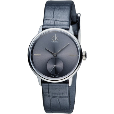 CK Calvin Klein日月光系列小秒針時尚腕錶-灰色32mm