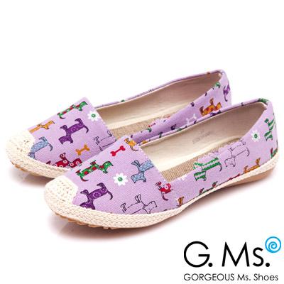 G.Ms. 繽紛心情-可愛狗狗麻繩編織懶人鞋-清新紫