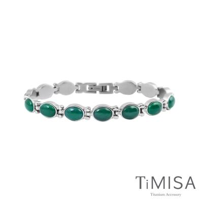 TiMISA《絢麗瑰寶-優雅招財綠》純鈦鍺手鍊