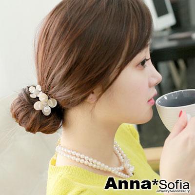 AnnaSofia 珠彩雙鑽花款 彈性髮束(珠白系)
