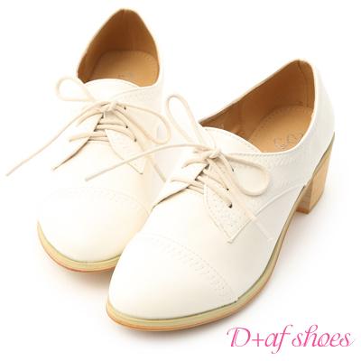 D+AF 英倫格調.一字剪裁中跟牛津鞋*米白