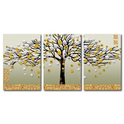 24mama掛畫-三聯無框圖畫藝術家飾品掛畫油畫-發財樹-40x60cm