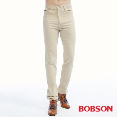 BOBSON   男款保暖高腰膠原蛋白直筒褲-卡其