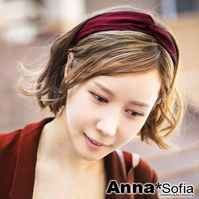 【3件480】AnnaSofia 韓款柔緞交叉結 彈性寬髮帶(酒紅)