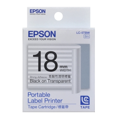 EPSON-標籤機色帶-LC-5TBW-透明底黑字-18mm