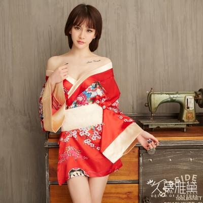 角色扮演服 繁花金彩華麗和服。紅色  久慕雅黛