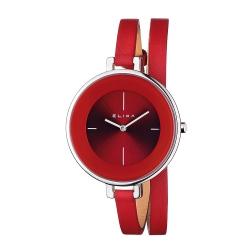 ELIXA Finesse系列銀框 紅錶盤/紅色皮革纏繞式錶帶38mm