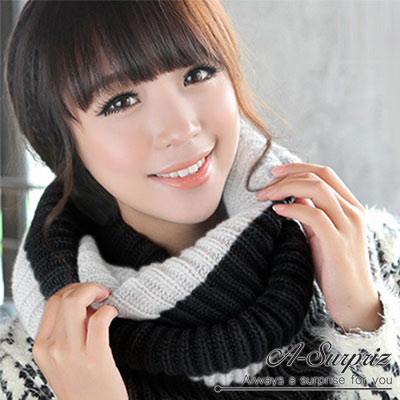 A-Surpriz 時尚大方雙色針織脖圍巾(黑白)