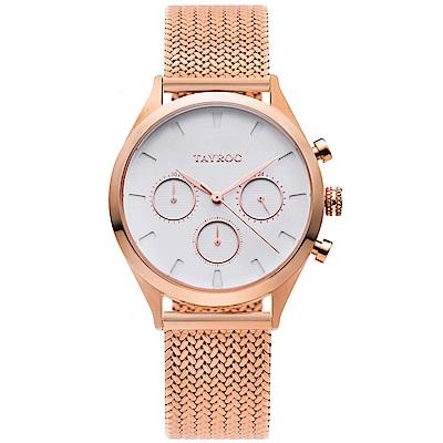 TAYROC 英式風尚米蘭帶計時手錶-白X玫瑰金/36mm