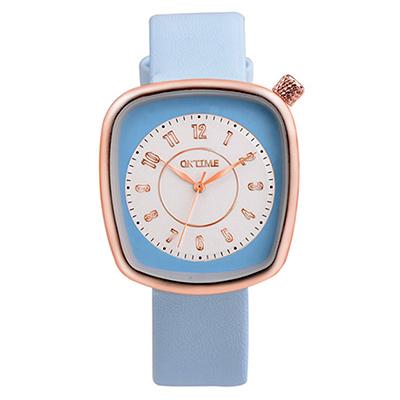Watch-123 水漾青春-清雅脫俗纖巧方形美手錶-藍色/36x39mm