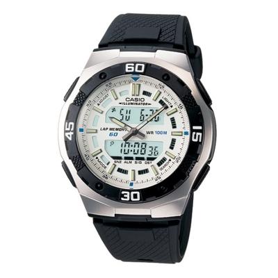 CASIO都會光廊雙顯時區膠帶錶(AQ-164W-7A)-白/43.5mm