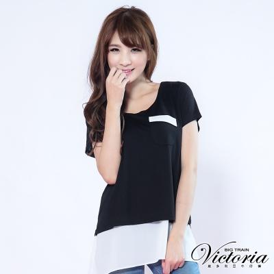 Victoria 配色層次長版上衣-女-黑