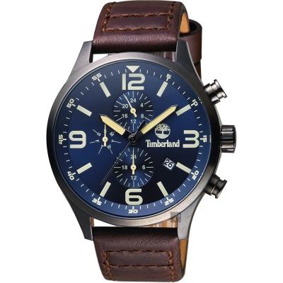 Timberland天柏嵐 Henniker II 兩地時間手錶-藍x咖啡/46mm