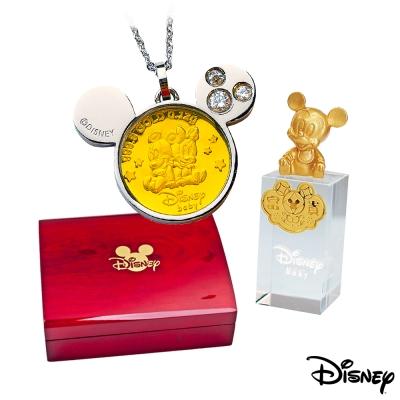 Disney迪士尼金飾 可愛兩小無猜黃金/白鋼項鍊+米奇水晶印章木盒
