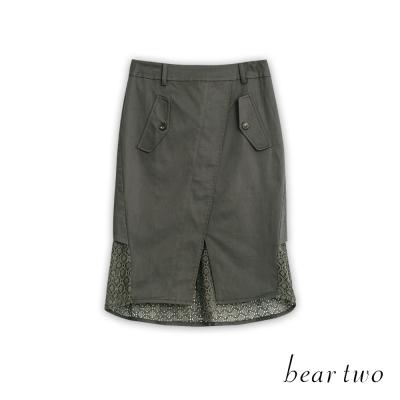 beartwo 拼接蕾絲造型開衩魚尾裙(二色)