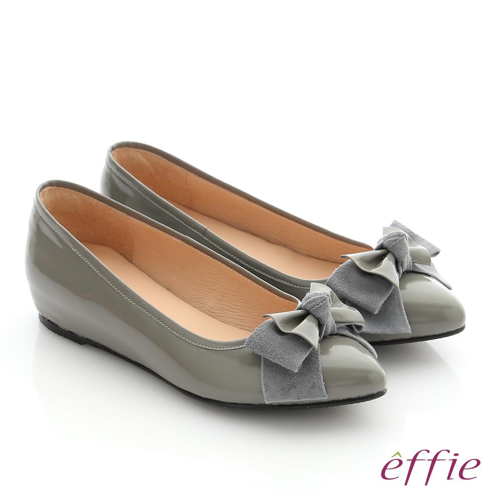 effie 個性美型 真皮蝴蝶結奈米平底鞋 灰色