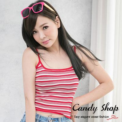 Candy小舖-新品特色款休閒雙色彈性條紋細肩帶針