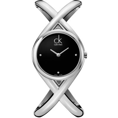 cK Enlace 時尚經典L手圍手鐲腕錶-黑/ 27 mm