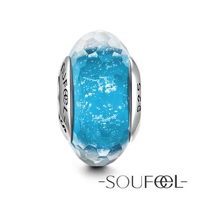SOUFEEL索菲爾 925純銀珠飾 淺藍色冰晶 琉璃珠