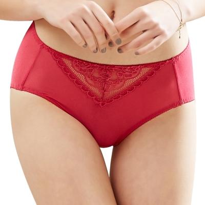 思薇爾 花緹系列M-XXL蕾絲中腰三角內褲(閃耀紅)