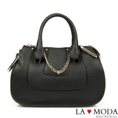 La Moda 名流經典設計系列 - 全真牛皮精美貝殼包(黑)