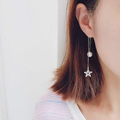 梨花HaNA 韓國925銀五角星珍珠耳線晶緻耳環
