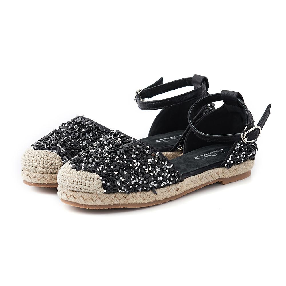 TAS 草編鞋頭水鑽踝繫帶涼鞋-亮麗黑