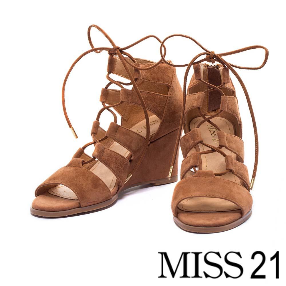 楔型鞋MISS 21都會嬉皮繫帶羅馬楔型鞋-棕