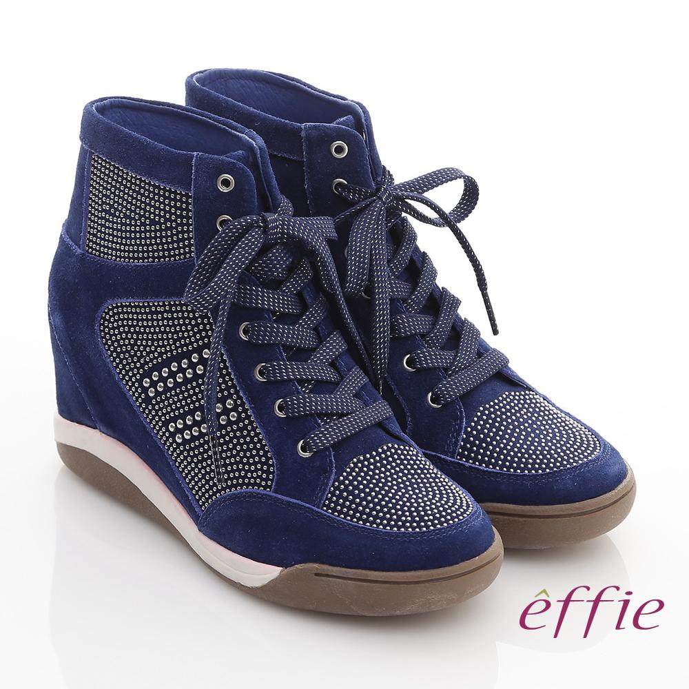 effie 趣味樂活 鉚釘絨面牛皮內增高鞋 深藍