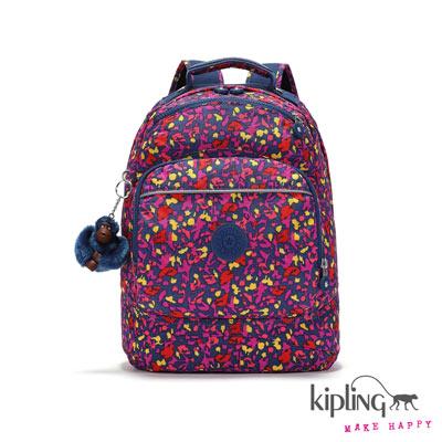 Kipling-後背包-多彩紫夏日印花
