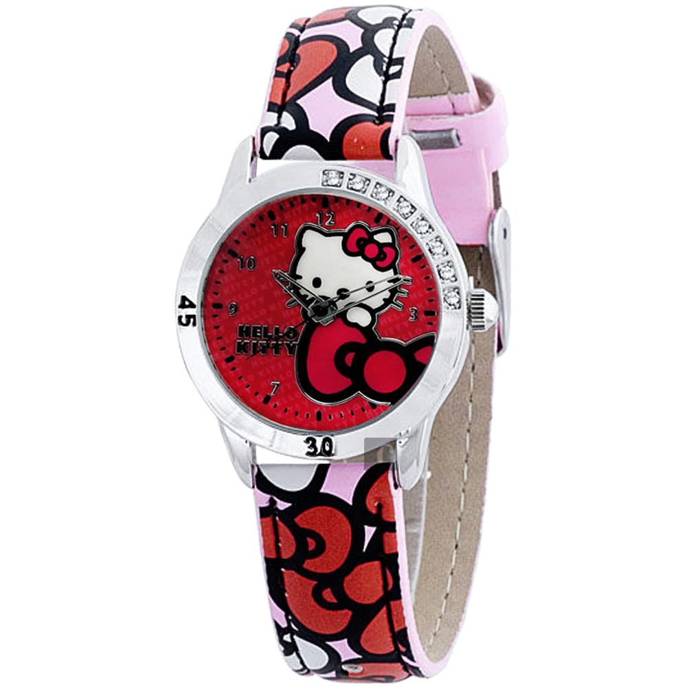 HELLO KITTY 凱蒂貓 蝴蝶結腕錶-紅/28mm