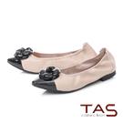 TAS優雅飾花羊皮尖頭娃娃鞋-簡約膚