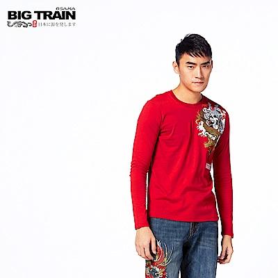 BIG TRAIN 龍影戰士圓領長袖T-男-紅