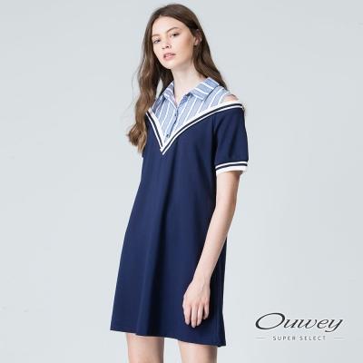 OUWEY歐薇 慵懶甜美露肩條紋洋裝(藍)
