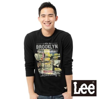 Lee-長袖T恤-漫畫塗鴉印刷-男款-黑