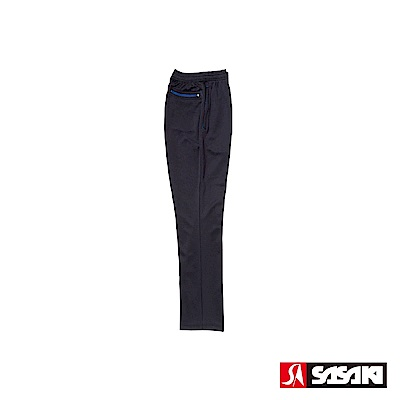 SASAKI 吸濕排汗功能伸縮針織運動長褲(直筒)-男-黑/寶藍