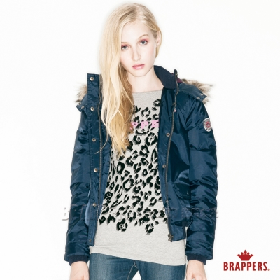 BRAPPERS 女款 女用撞色短版羽絨外套-深藍