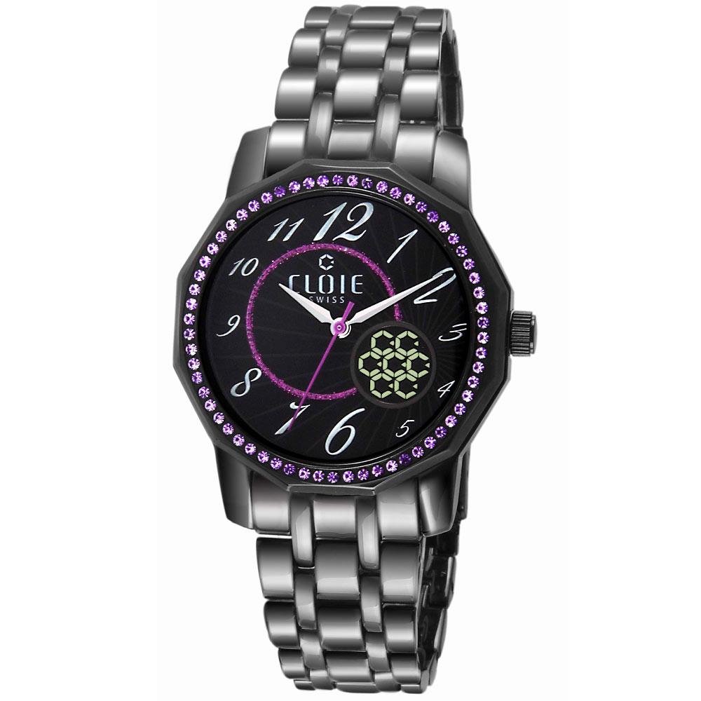 CLOIE 璀璨飛舞晶讚不鏽鋼時尚腕錶-黑x紫/39mm