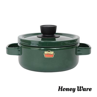 日本富士Honey-Ware-琺瑯雙耳鍋18cm綠