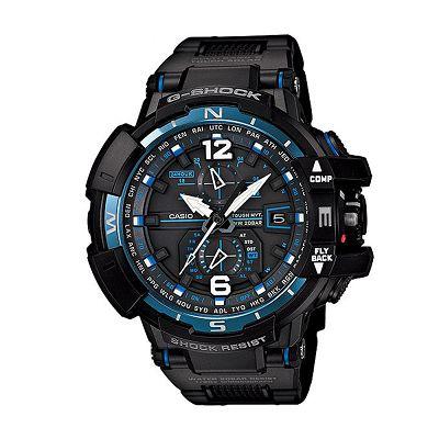 G-SHOCK 高規格旗鑑款電波飛行錶(GW-A1100FC-1A)-IP黑x藍框/53.8mm