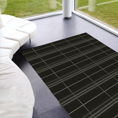 范登伯格 - 夏露 類亞麻進口地毯 -格局 (黑 - 60 x 110cm)