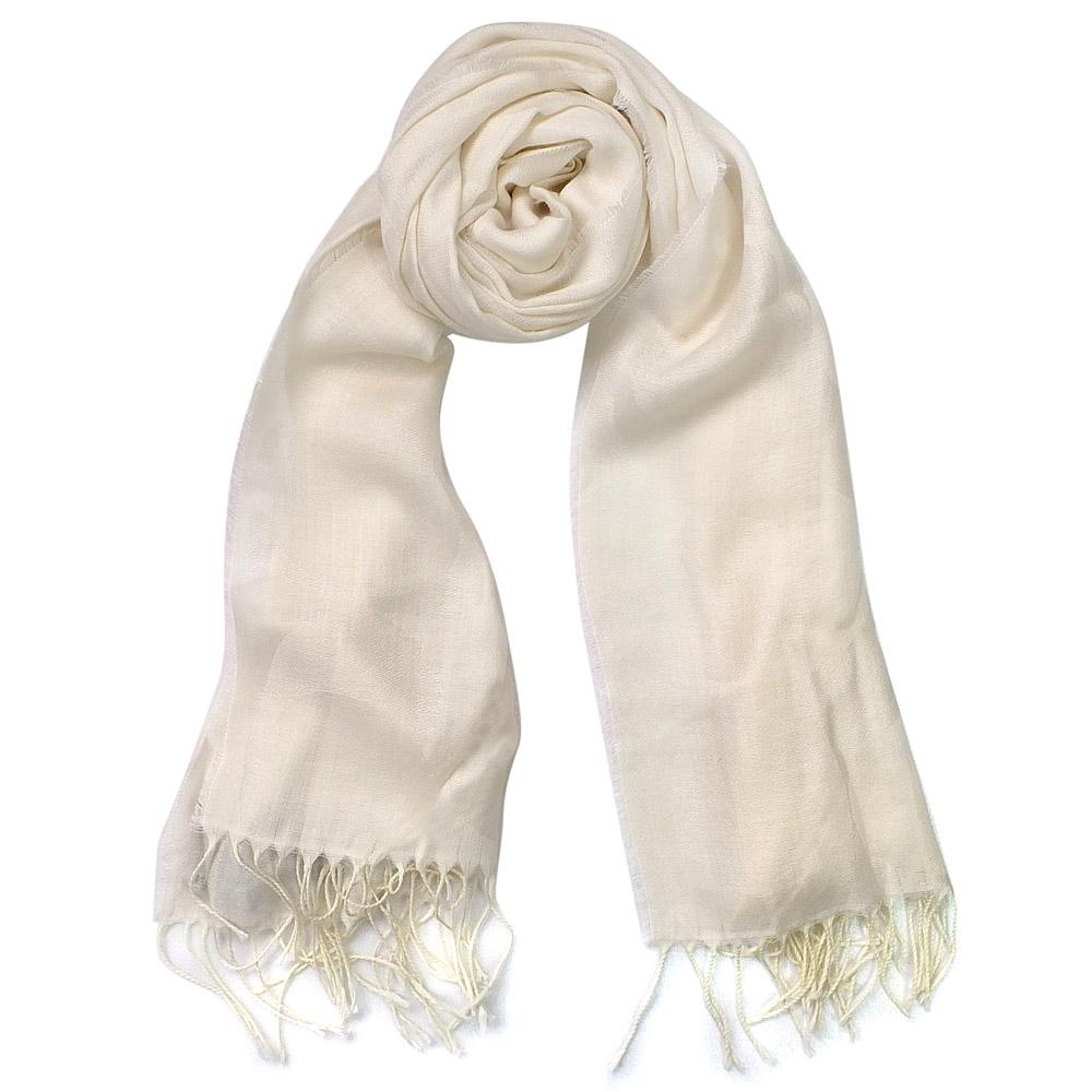 COACH米白羊毛蠶絲車線C Logo流蘇長圍巾(195x53)COACH