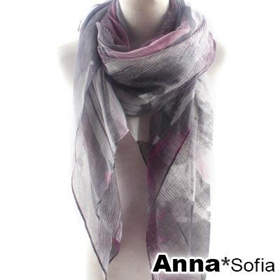 【2件450】AnnaSofia 漫線層墨染 巴黎紗披肩圍巾(粉灰系)
