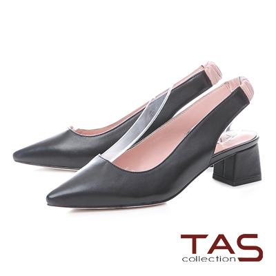 TAS素面質感羊皮尖頭後鏤空粗跟涼鞋-百搭黑