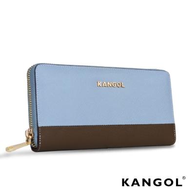 KANGOL Eudora十字紋真皮撞色女夾- 水藍/褐 KG1121