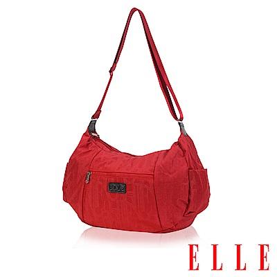 福利品 ELLE 優雅淑女皺褶包 大空間 托特側背包款 LOGO防潑水設計款-紅色
