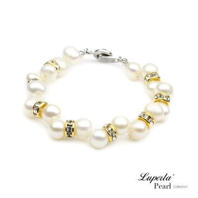 大東山珠寶Luperla-天然珍珠手鍊-璀璨金鑽