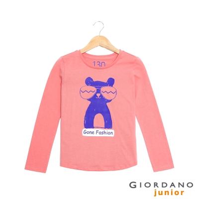 GIORDANO 童裝 可愛印花純棉長袖T恤- 41 鮭魚玫瑰紅