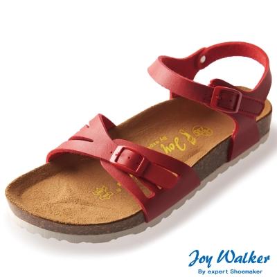 Joy Walker 繽紛色彩一片式平底涼鞋*紅色